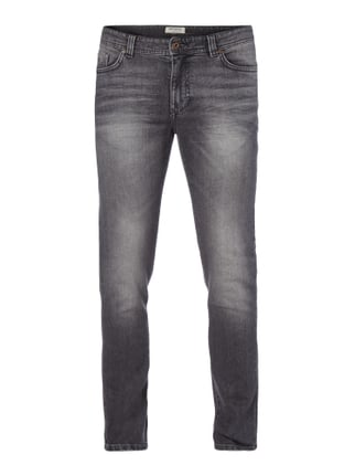 Stone Washed Slim Fit 5-Pocket-Jeans Grau / Schwarz - 1