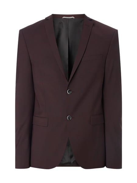 MCNEAL Super Slim Fit 2-Knopf-Sakko mit Webstruktur Bordeaux Rot