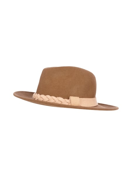 Minimum Fedora mit Hutband in Flecht-Optik Beige - 1