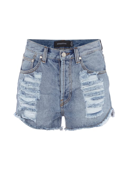 High Waist Hotpants im Destroyed Look Blau / Türkis - 1