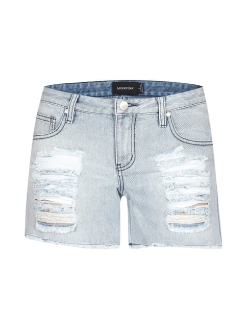 Jeans Hotpants im Destroyed-Look Blau / Türkis - 1