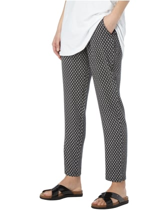 Montego Easy Pants mit Allover-Muster Schwarz - 1