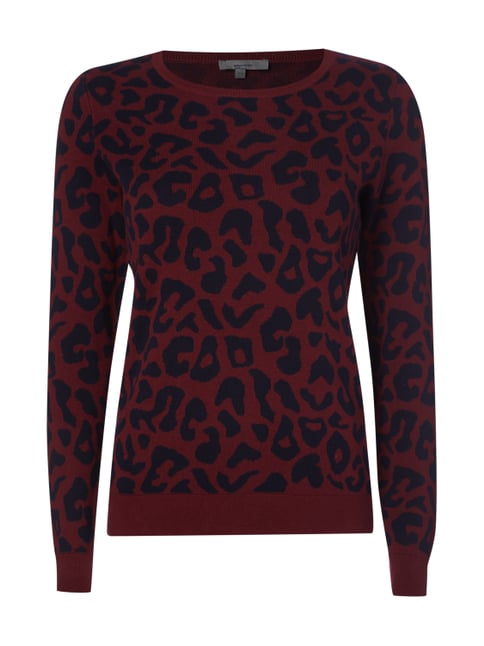 Pullover mit Leopardenmuster Rot - 1