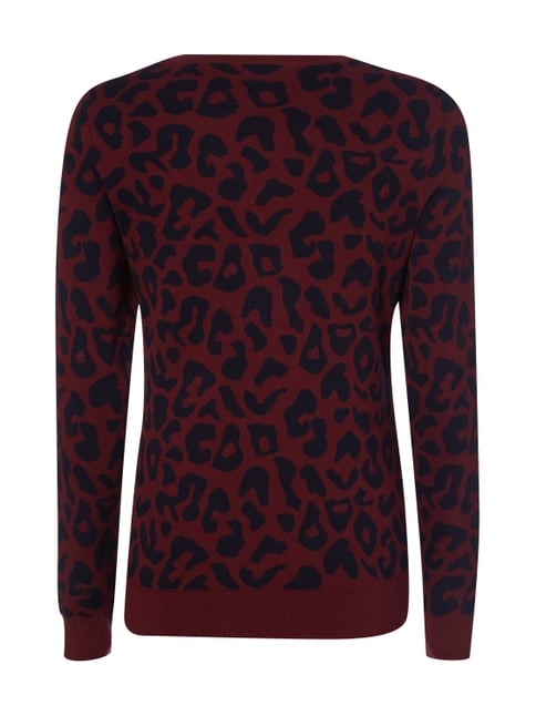 Montego Pullover mit Leopardenmuster Bordeaux Rot - 1