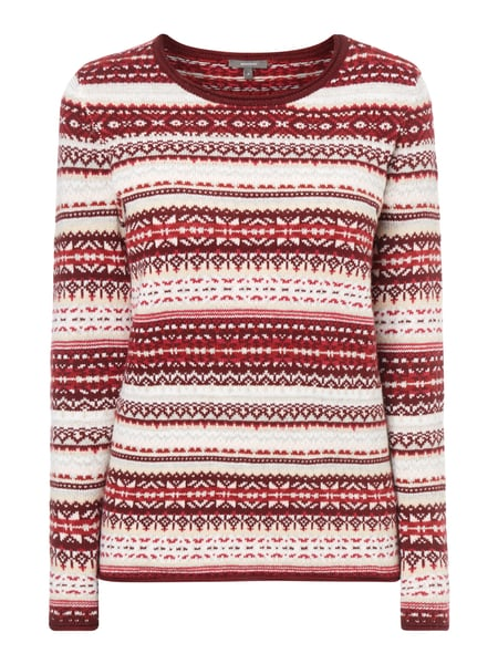 Montego Pullover mit Norweger-Dessin Bordeaux Rot