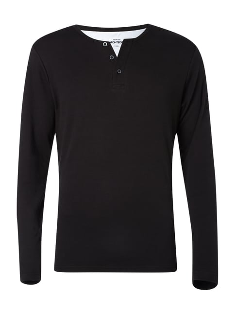 Serafino-Shirt im Double-Layer-Look Grau / Schwarz - 1