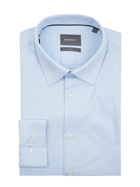 Montego Slim Fit Business-Hemd aus Natté Blau - 1