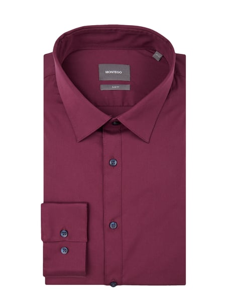 Montego Slim Fit Business-Hemd mit New Kent Kragen Rot - 1