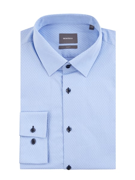 Montego Slim Fit Business-Hemd mit New Kent Kragen Blau / Türkis - 1