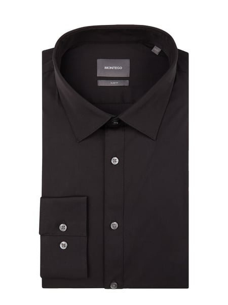 Montego Slim Fit Business-Hemd mit New Kent Kragen Grau / Schwarz - 1