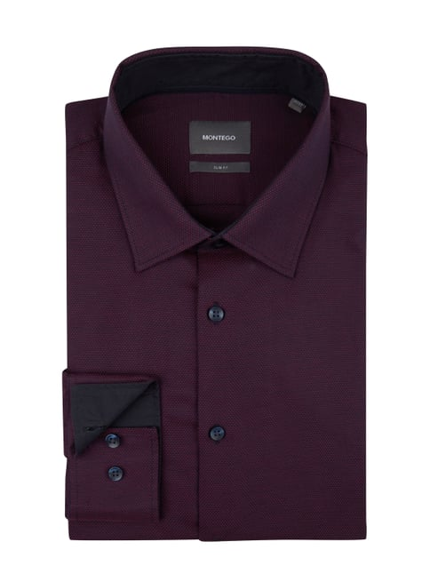 Montego Slim Fit Business-Hemd mit Webmuster Rot - 1 ... f772f89c7e