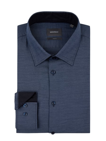 Montego Slim Fit Business-Hemd mit Webmuster Blau - 1