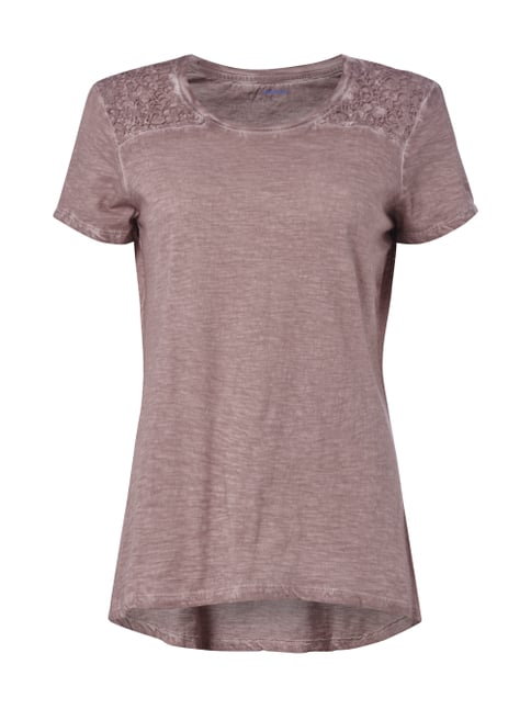 T-Shirt im Washed Out-Look mit Häkelspitze Rosé - 1