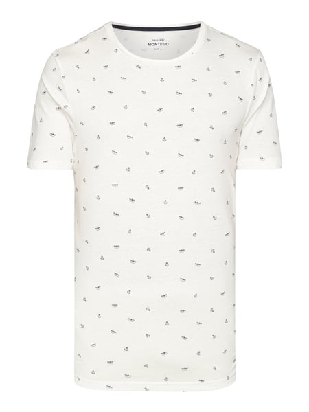 Montego T-Shirt mit Allover-Muster Offwhite
