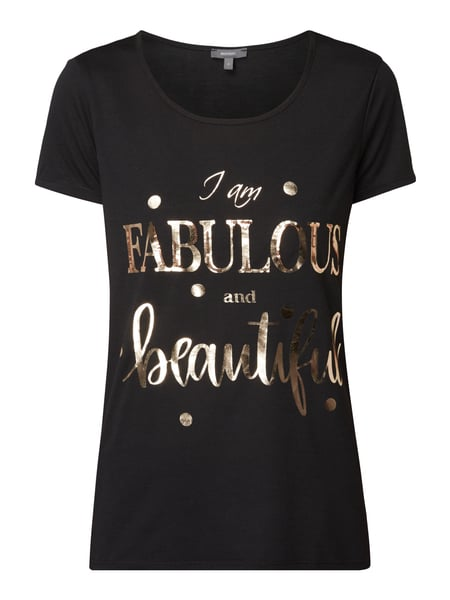 Montego T-Shirt mit Message-Print in Metallicoptik Schwarz