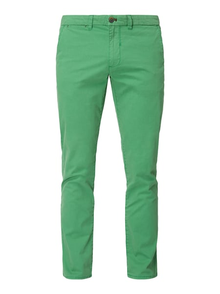 Montego Tapered fit chino met stretch Groen - 1