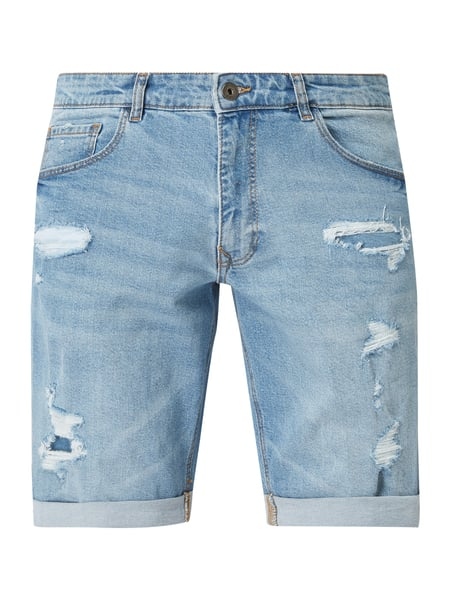 MR. F Jeansbermudas mit Destroyed-Effekten Blau - 1