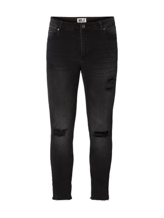 MR. F Skinny Fit Jeans im Destroyed Look Grau / Schwarz - 1