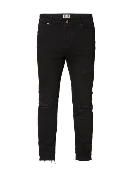 mr f skinny fit jeans im destroyed look in grau schwarz. Black Bedroom Furniture Sets. Home Design Ideas