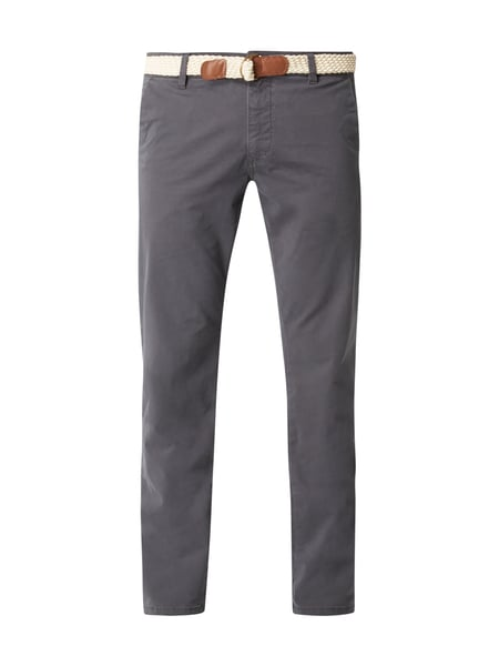 MR. F Slim Fit Chino mit Flechtgürtel Dunkelgrau