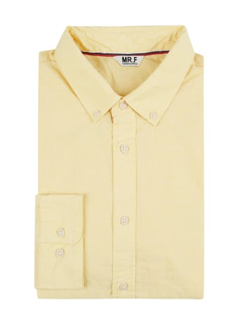 MR. F Slim Fit Freizeithemd mit Button-Down-Kragen Gelb - 1