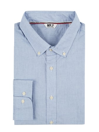 MR. F Slim Fit Freizeithemd mit Button-Down-Kragen Blau / Türkis - 1