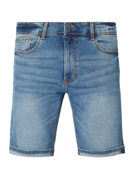 MR. F Stone Washed Jeansbermudas Blau