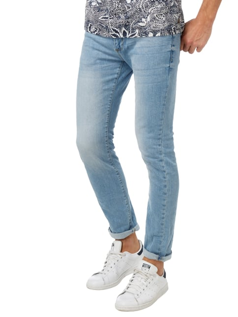 MR. F Stone Washed Slim Fit 5-Pocket-Jeans Hellblau - 1