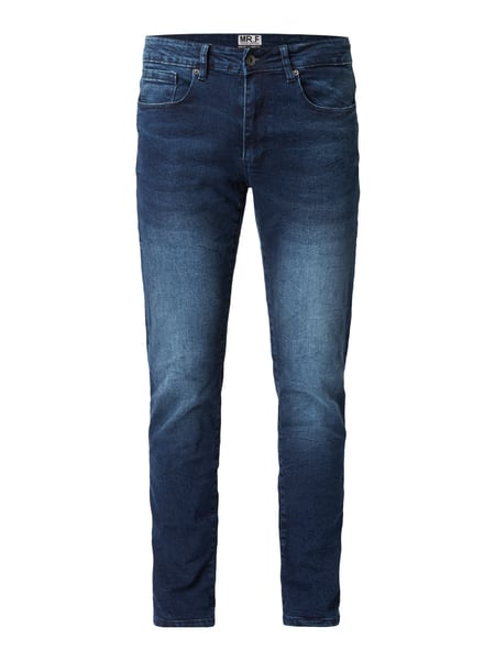 MR. F Stone Washed Slim Fit Jeans Dunkelblau
