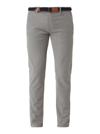 MR. F Tapered Fit Chino mit Gürtel Grau - 1