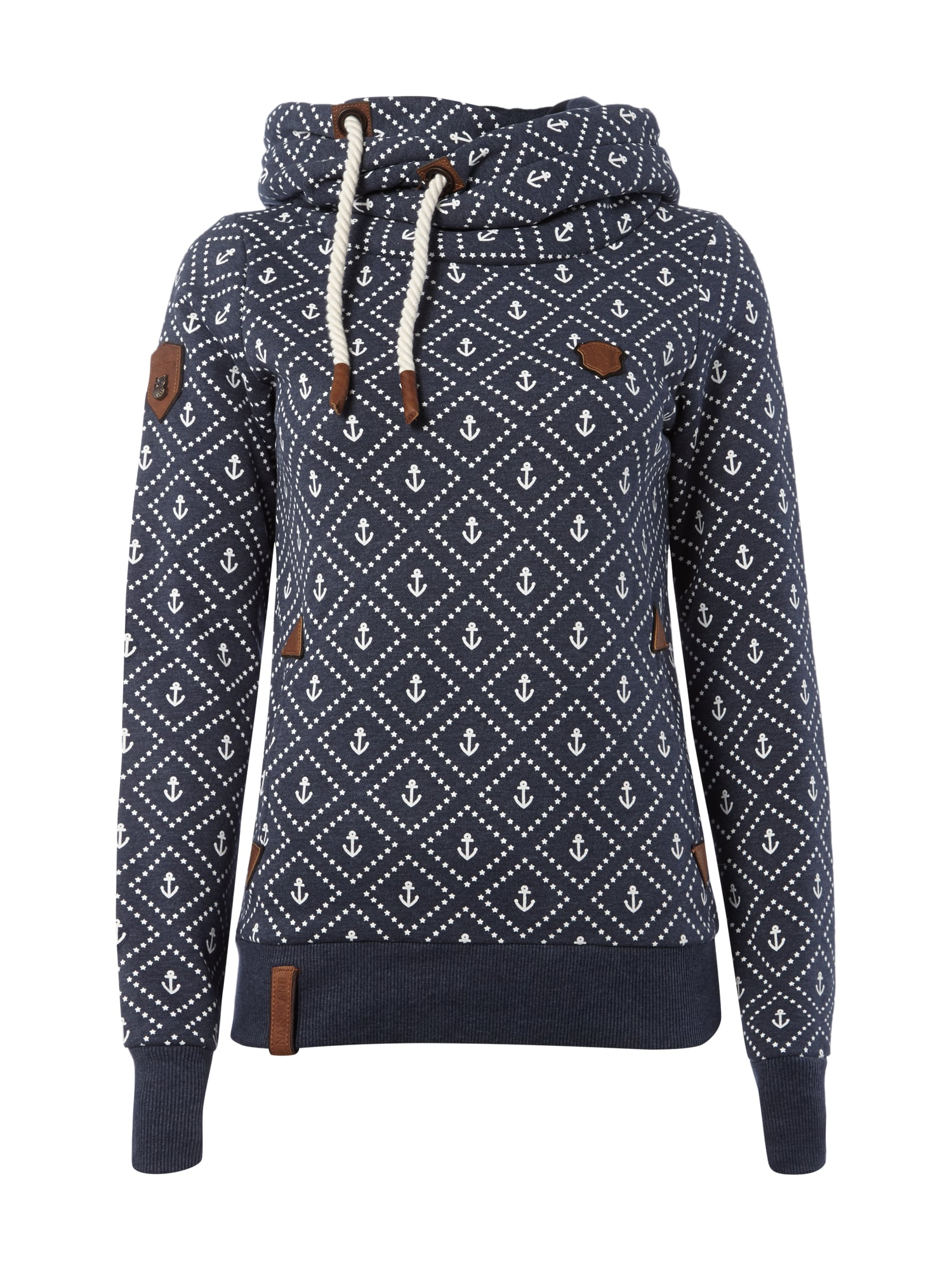 naketano hoodie mit anker print in blau t rkis online. Black Bedroom Furniture Sets. Home Design Ideas