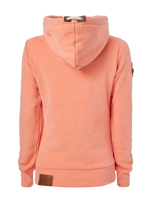 Naketano Hoodie mit Kapuze in Wickeloptik Orange meliert - 1