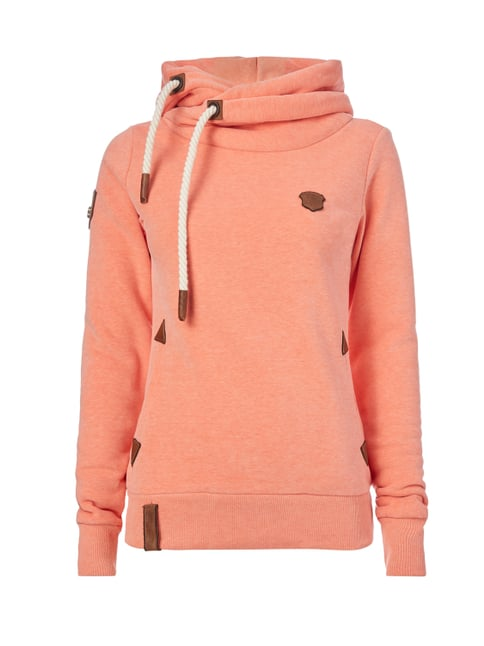 Hoodie mit Kapuze in Wickeloptik Orange - 1