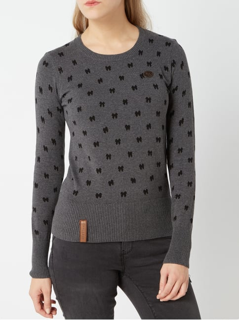 3aa54c3a9b8a ... Naketano Pullover mit Allover-Muster Dunkelgrau meliert - 1