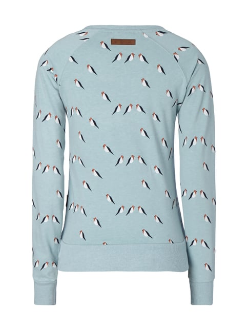 Naketano Sweatshirt mit Allover-Muster Mint meliert - 1
