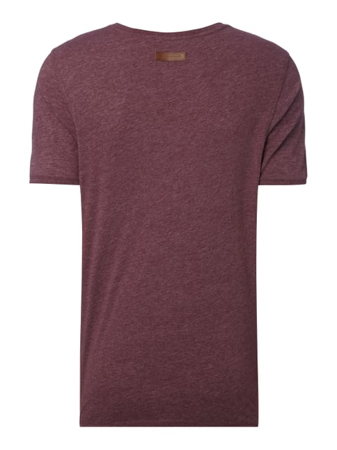Naketano T-Shirt in Melangeoptik Bordeaux Rot meliert - 1