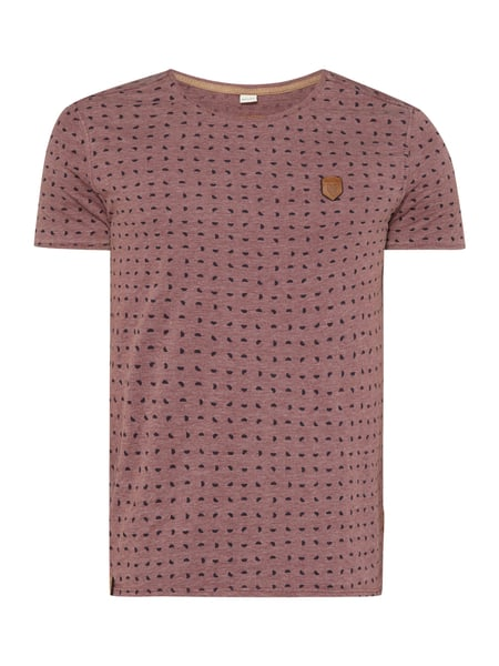 Naketano T-Shirt mit Allover-Muster Bordeaux Rot meliert