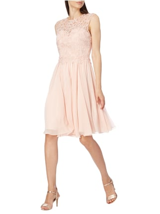 Niente Cocktailkleid mit floralen Stickereien in Rosé - 1