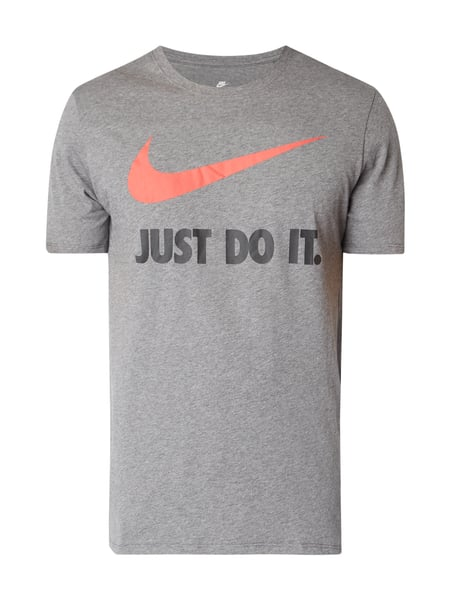 Nike Athletic Cut T-Shirt mit Logo-Stickerei Mittelgrau
