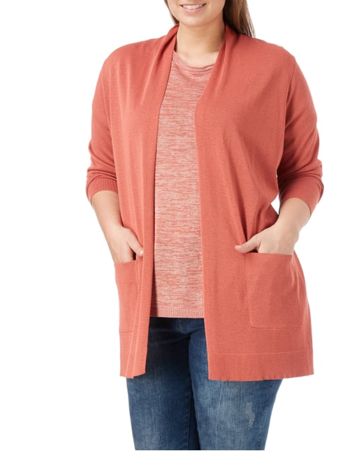 No Secret PLUS SIZE - Longcardigan mit Schalkragen Rostrot - 1