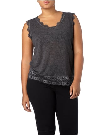No Secret PLUS SIZE - Top mit Spitzenbesatz Anthrazit - 1