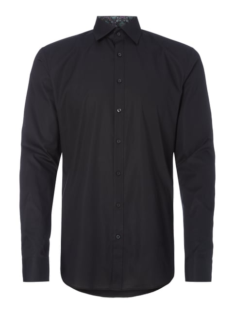 Body Fit Business-Hemd mit Under-Button-Down-Kragen Grau / Schwarz - 1