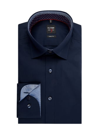 OLYMP Level Five Slim Fit Business-Hemd aus Popeline Blau - 1