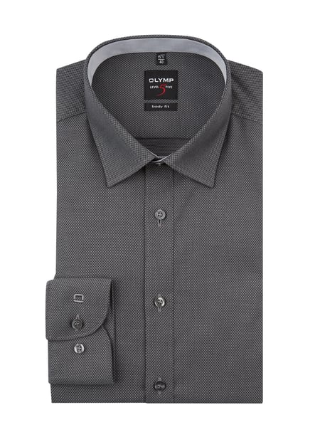 OLYMP Level Five Slim Fit Business-Hemd mit Stretch Anteil Grau - 1