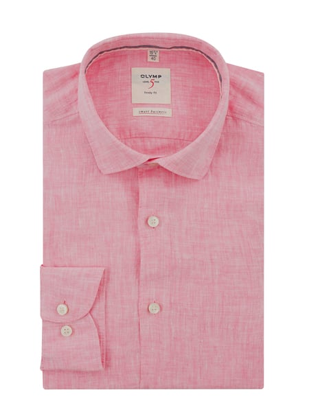 OLYMP Level Five Slim Fit Leinenhemd Rosa - 1