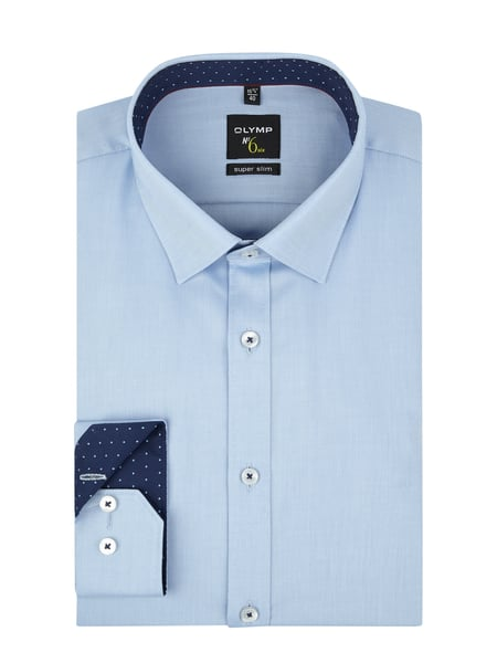 OLYMP No. Six Super Slim Fit Business-Hemd aus Twill Blau - 1