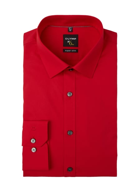 OLYMP No. Six Super Slim Fit Business-Hemd mit Stretch-Anteil Rot - 1