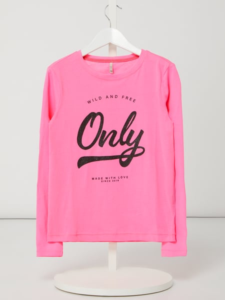 Only Longsleeve mit Logo in Glitter-Optik Modell 'Wendy' Rosa - 1
