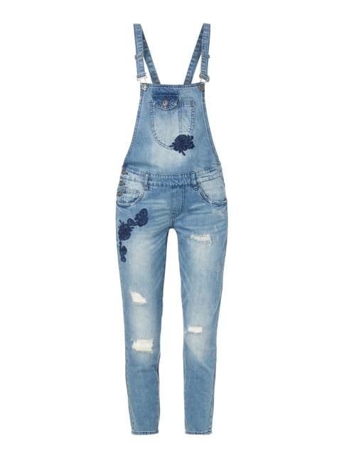 Loose Fit Jeanslatzhose im Destroyed Look Blau / Türkis - 1