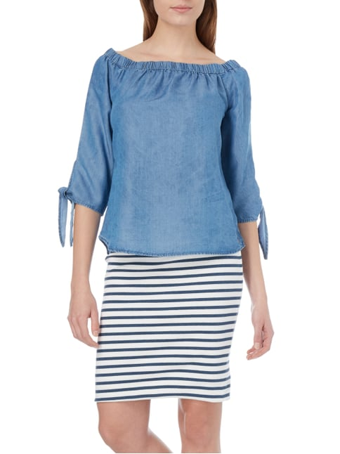 Only Off Shoulder Blusenshirt in Denimoptik Bleu - 1